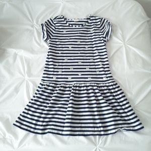 Girl's Blue and White Stripe, Silver Hearts Dress